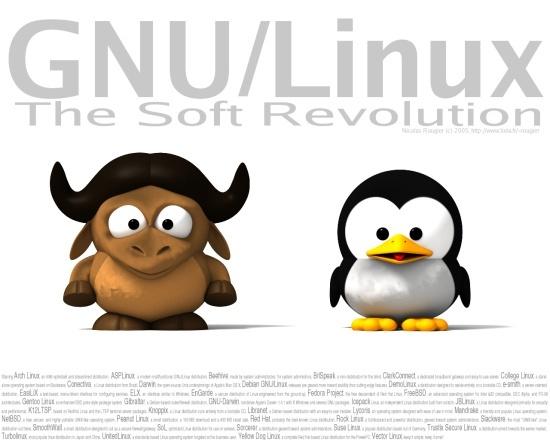 谦和的粉丝为GNU和Linux制作的宣传海报