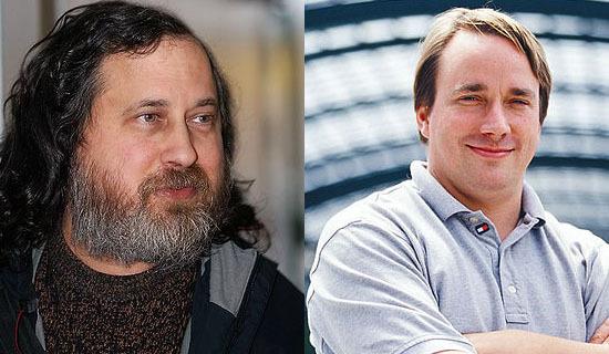 Richard Stallman(左)、Linus Torvalds