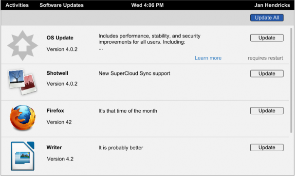GNOME需要更新操作系统和应用程序如何处理的设计