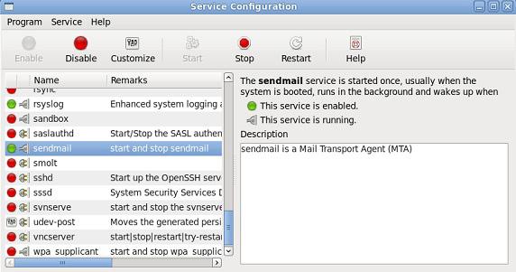 GNOME 中服务管理屏幕截图