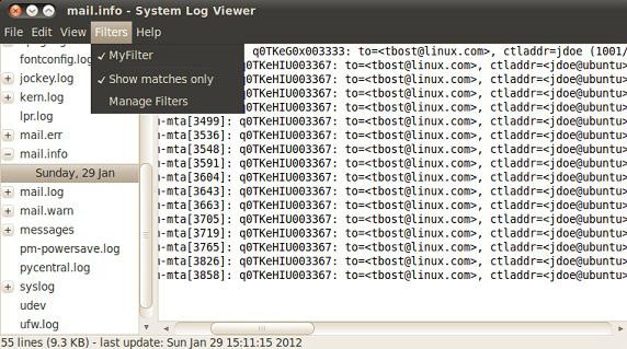 系统日志查看器屏幕截图,显示邮箱地址 tbost@linux.com 过滤的消息