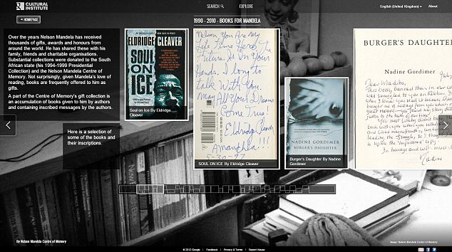 Never forget: Another exhibit shows the inscriptions in the many books sent to Nelson Mandela during his long years of incarceration