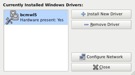 "该图展示了如何使用 ndisgtk 添加一个 Windows 驱动程序,按钮包括 ""Install New Driver""、""Remove Driver""、""Configure Network"" 和 ""Close""。"