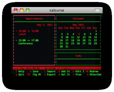 calcurse screenshot
