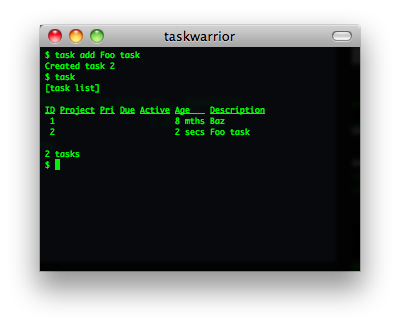 taskwarrior screenshot