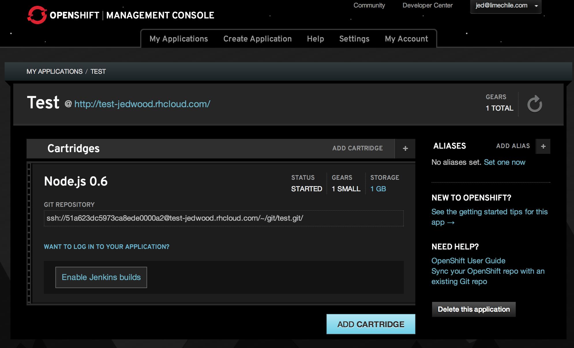 OpenShift dashboard