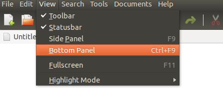 gedit-view-bottom-panel