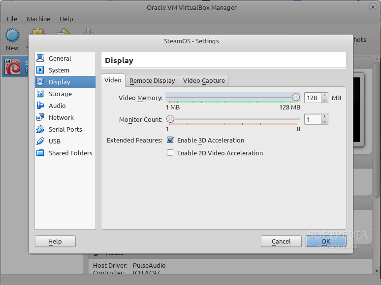 Set Video Memory size and 3D acceleration