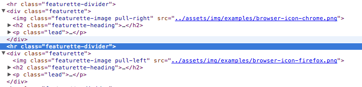 A snapshot of some HTML from one of the Twitter Bootstrap templates.