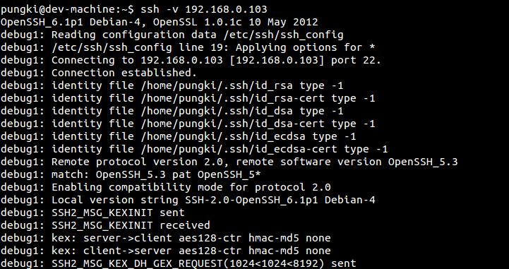 debug ssh connection