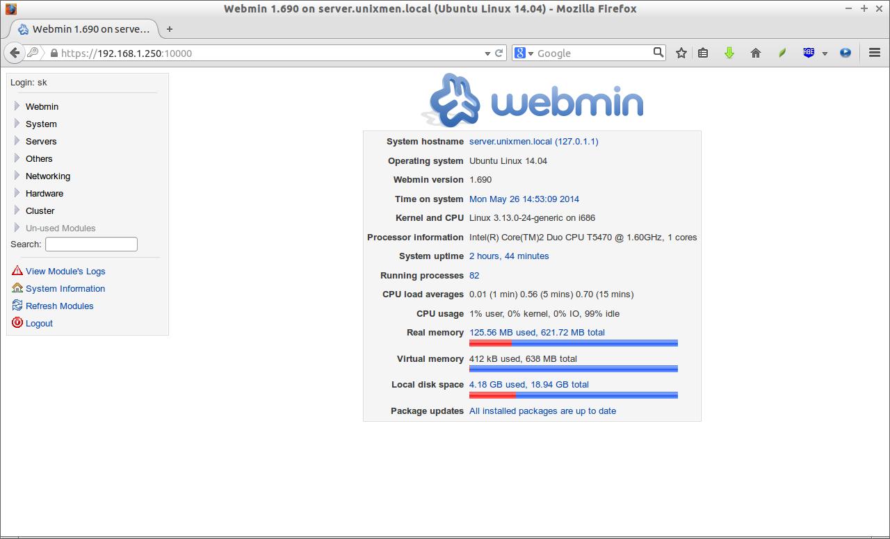 Webmin 1.690 on server.unixmen.local (Ubuntu Linux 14.04)