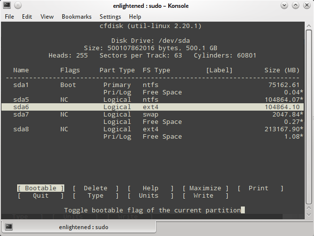 linux cfdisk disk partitions