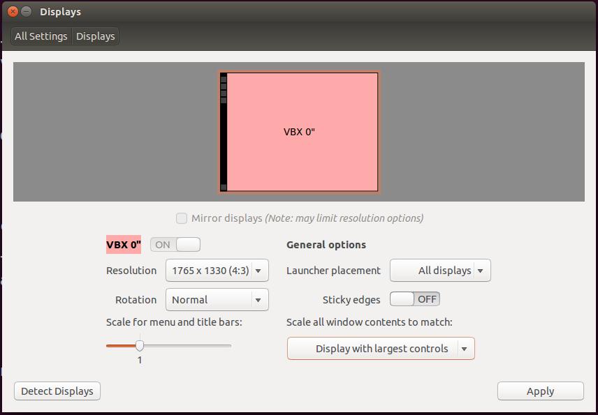 Ubuntu 14.04 LTS Display and Unity Settings