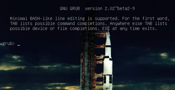 Figure 1: GRUB 2 menu with cool Apollo 17 background.