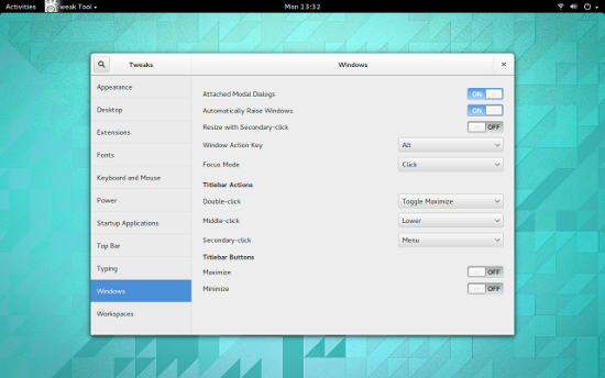 图 1: Adding the minimize button back to the GNOME 3 windows.