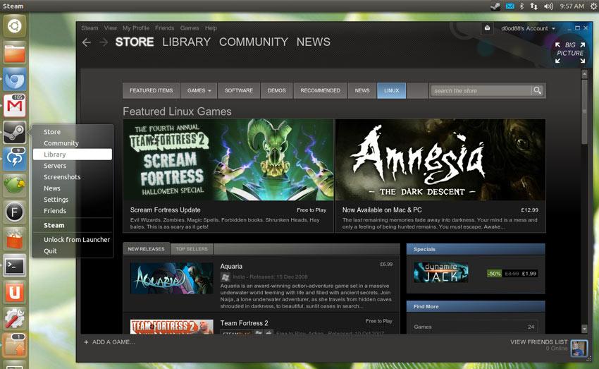 Steam有着上百个专门为Linux设计的高质量游戏。