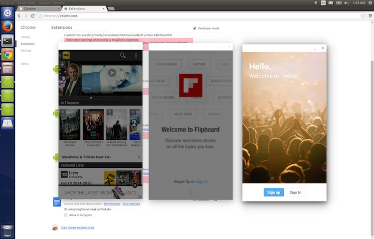IMDB, Flipboard and Twitter Android Apps running on Ubuntu 14.04 LTS