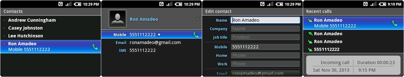 联系人列表,打开一个联系人,编缉联系人,以及最近通话界面。