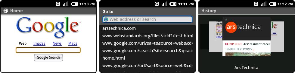 浏览器的假Google首页,地址栏,浏览历史界面。