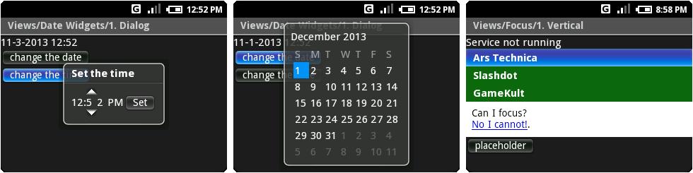 时间设置和日历,有点字间距问题,以及以Ars为特色的垂直列表测试。