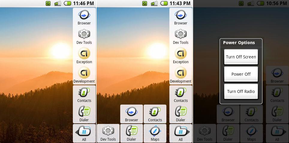 """左:Milestone 5,主屏幕展示了""""All""""按钮,两个dock图标,以及四个最近使用的应用。中:主屏幕与打开的应用程序列表。右边:电源菜单。"""