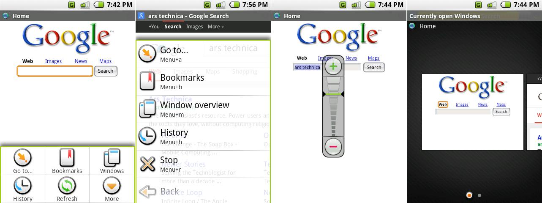 浏览器的主要菜单,浏览器的二级菜单,疯狂的变焦控制和窗口界面。