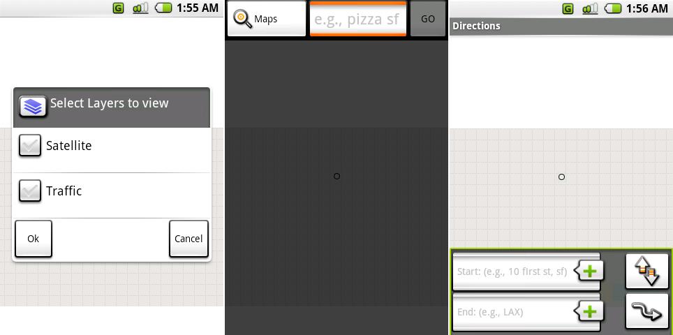 谷歌地图的图层选择,搜索界面,以及路线界面。