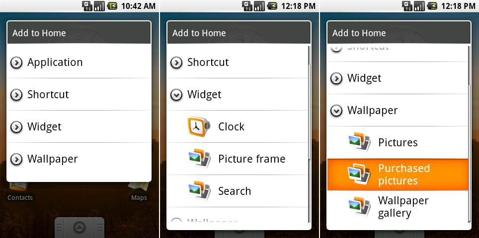 """安卓0.9的""""添加到主屏幕""""对话框。"""