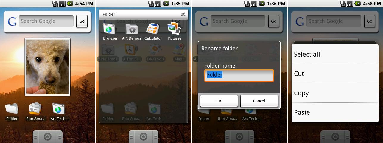 小部件集合,打开的文件夹,重命名文件夹,以及一个复制/粘贴菜单。