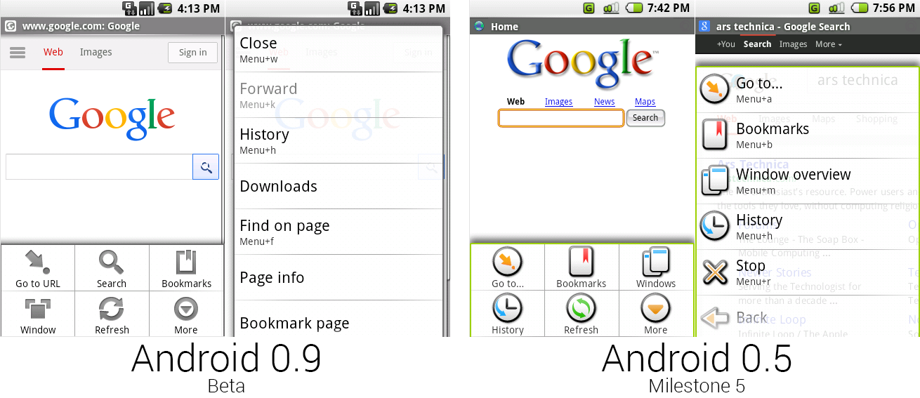 安卓0.9和0.5的浏览器,展现出新的无色彩菜单。