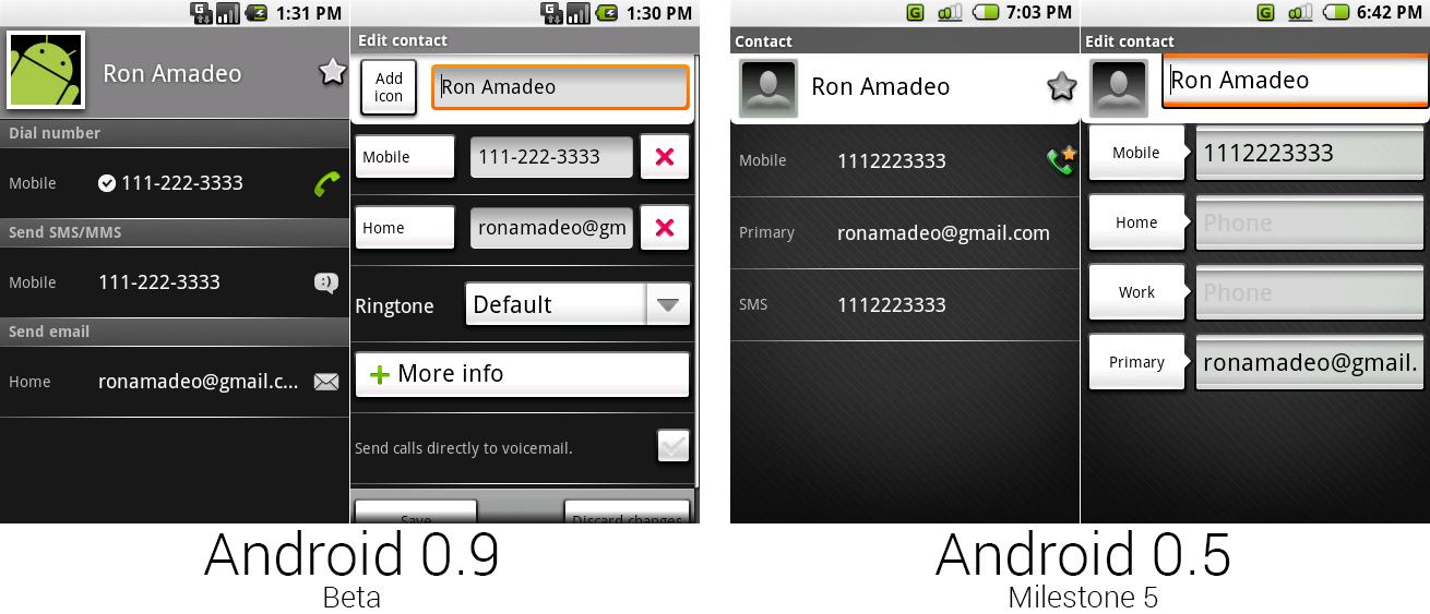 安卓0.9和0.5中独立的联系人界面和联系人编缉界面。