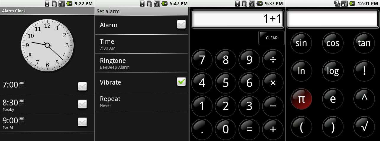 闹钟主屏幕,设置一个闹钟,计算器,以及计算器高级功能。