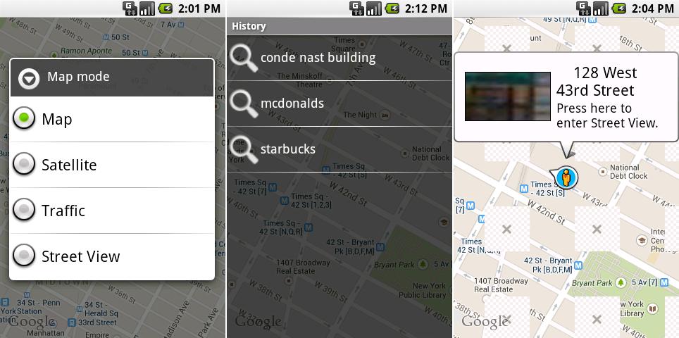 谷歌地图图层选择,搜索历史,新加入的街景视图。