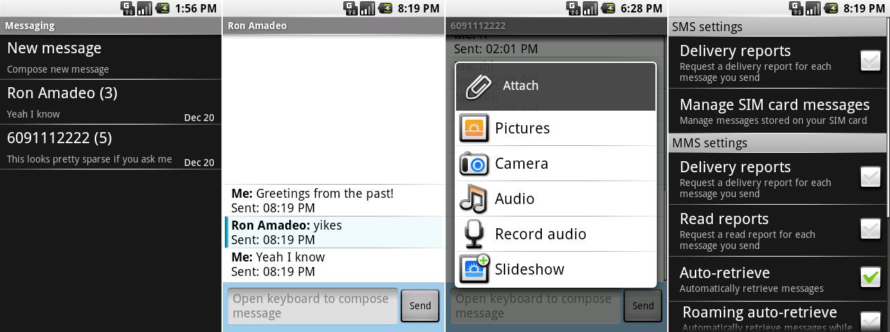 信息应用的会话窗口,附件窗口,会话列表,以及设置。