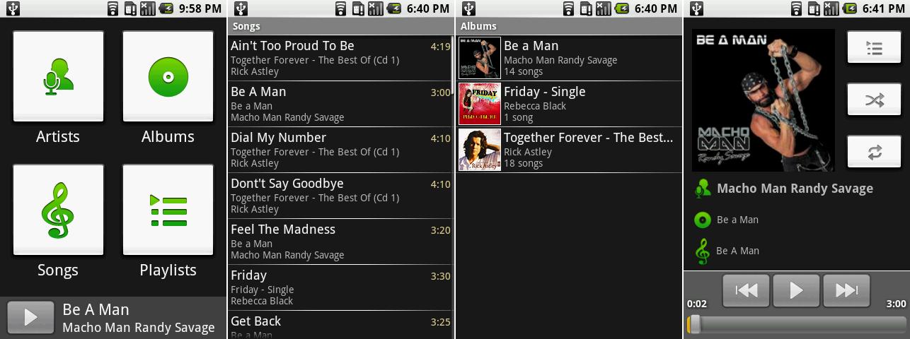 """音乐播放器的主导航页面,歌曲列表,专辑列表,以及""""正在播放""""界面。"""