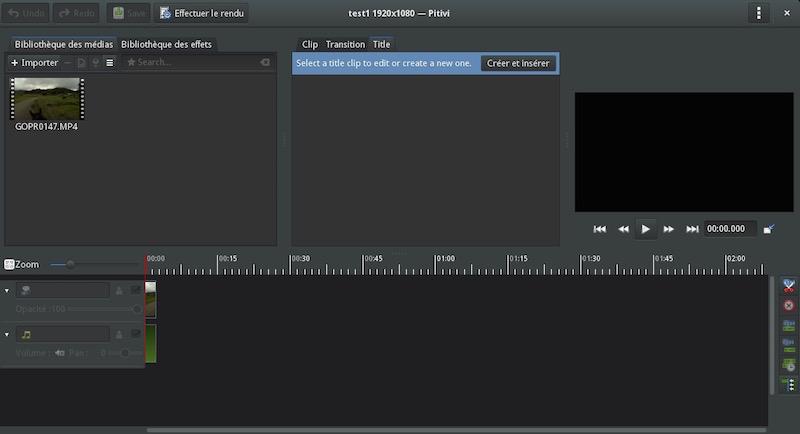 Pitivi now uses GTK HeaderBar and menu button (image: Nekohayo)