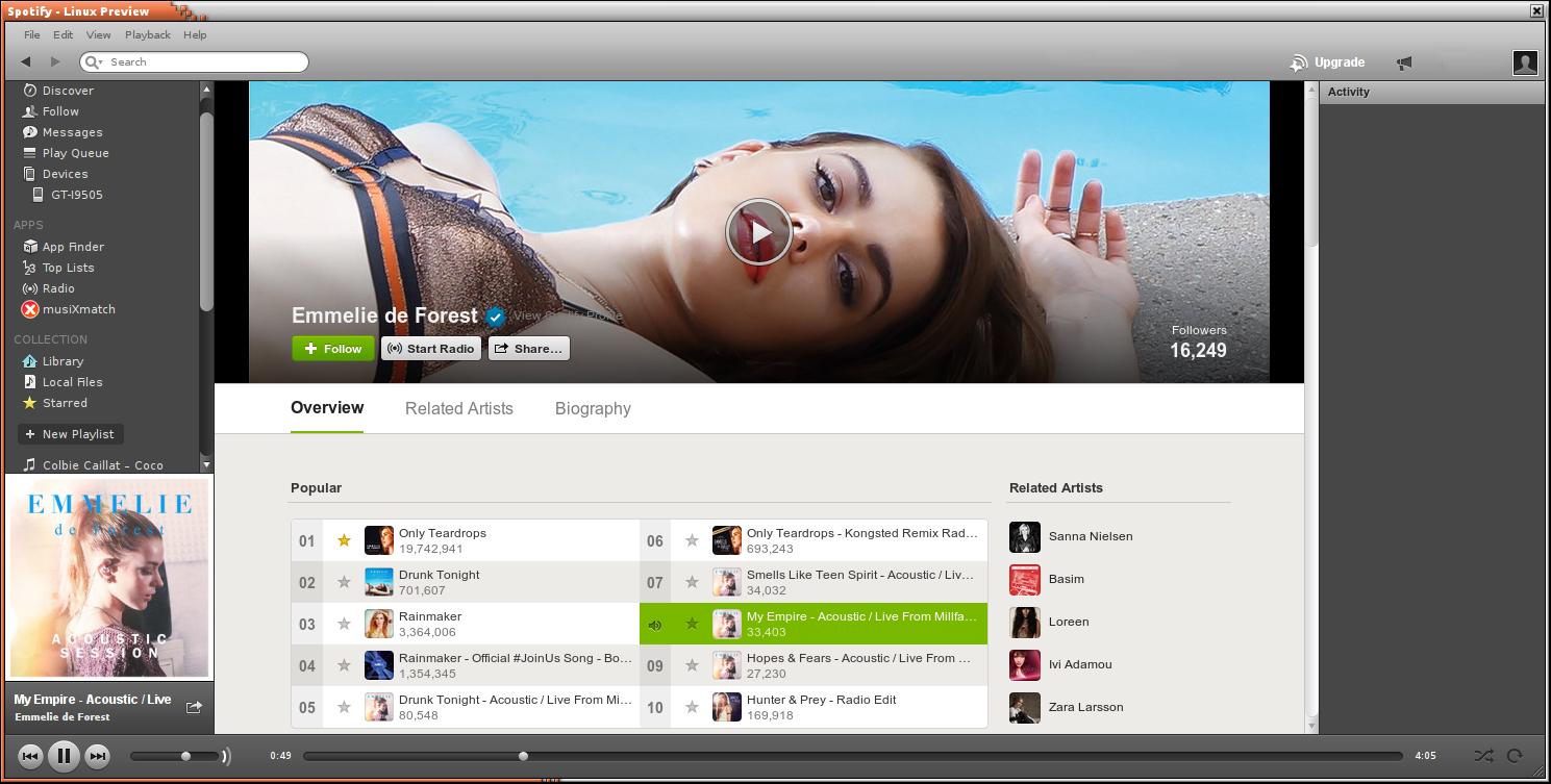 Spotify 播放界面