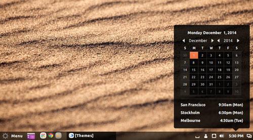 World Clock Calendar in Cinnamon 2.4