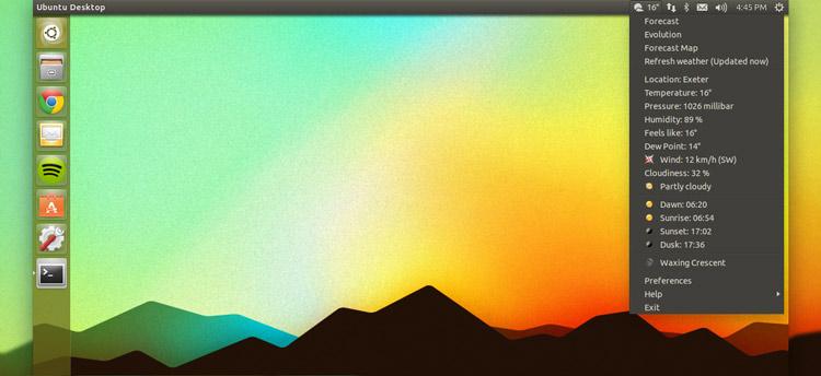 日升日落时间查询_分享|在Ubuntu 14.10中如何安装和配置'天气信息指示器'