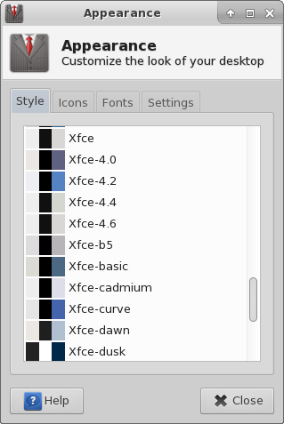 xfce4-appearance-settings-style