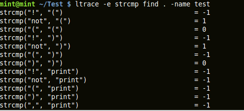 output of ltrace capturing 'strcmp' library call