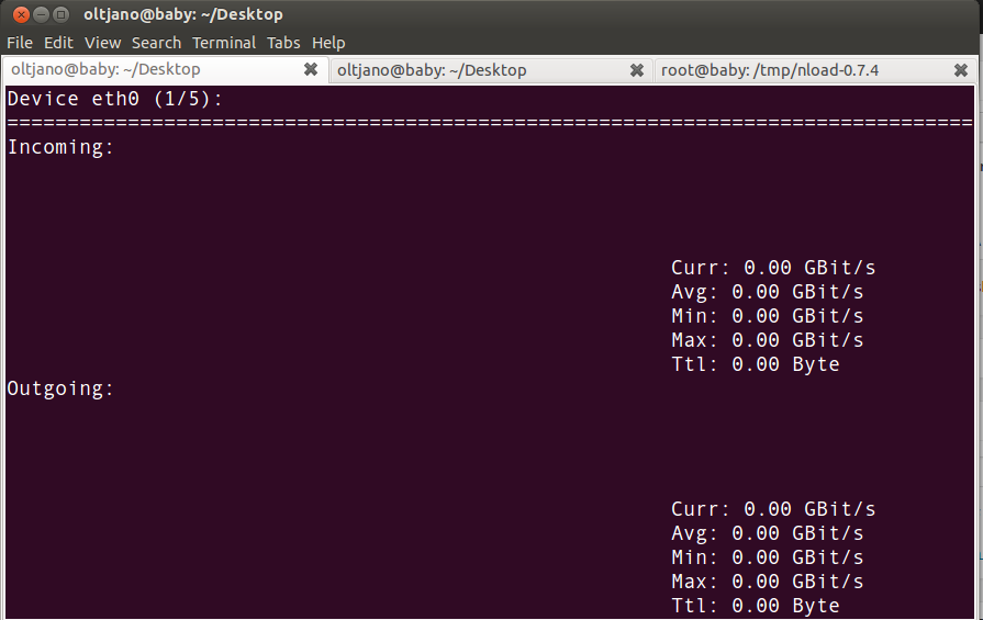 nload running on linux