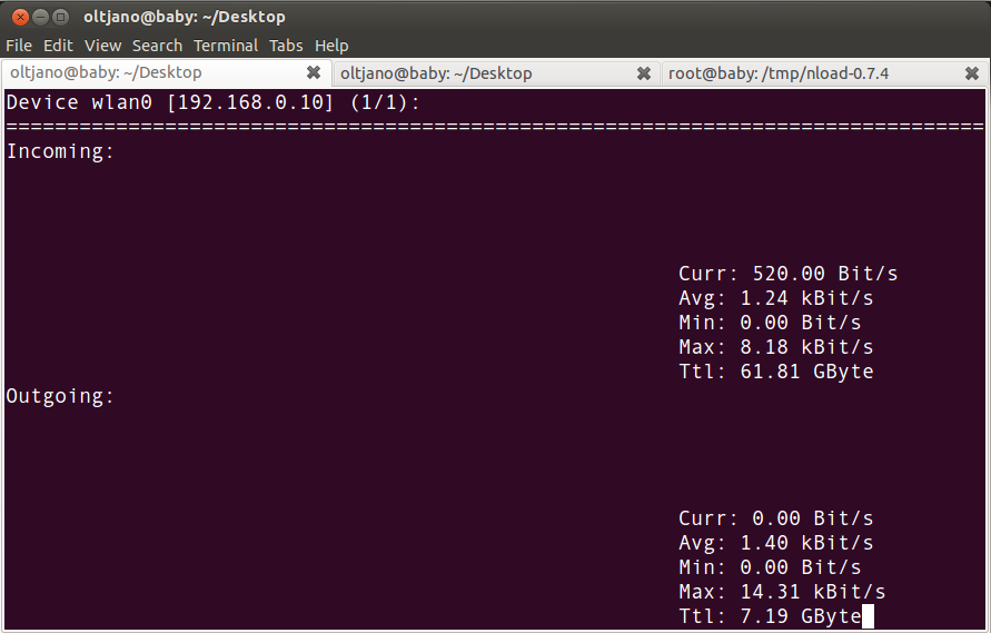nload monitoring wlan0 on linux