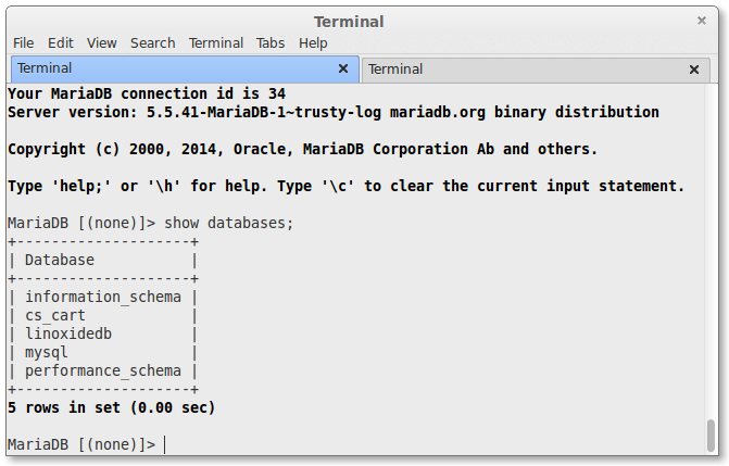 mysql to mariadb database migrated
