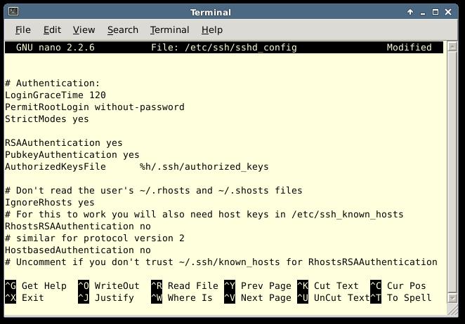 Configuring sshd Config
