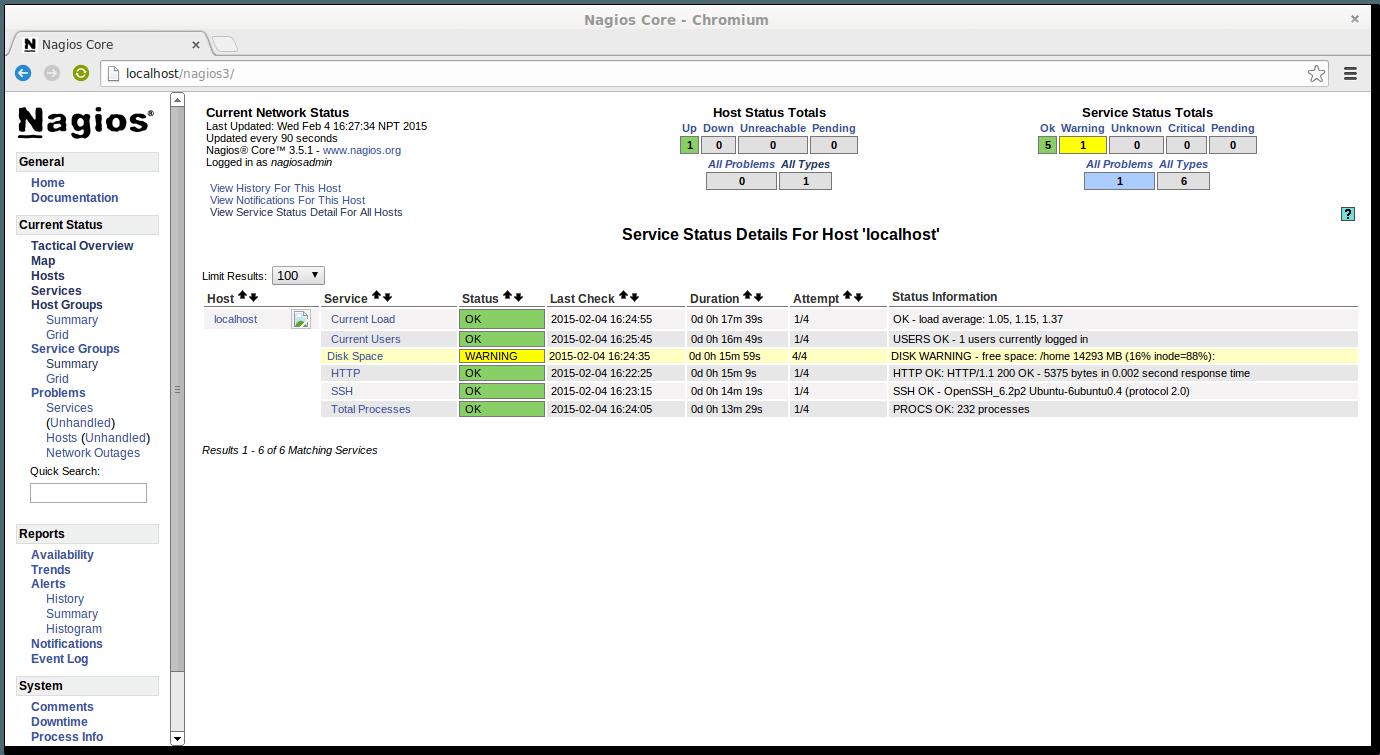 在 Chromium 浏览器中的 Nagios3