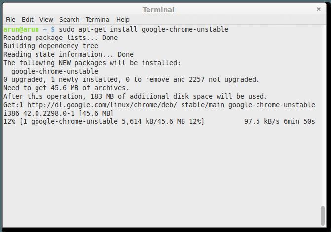 Installing Google chrome unstable