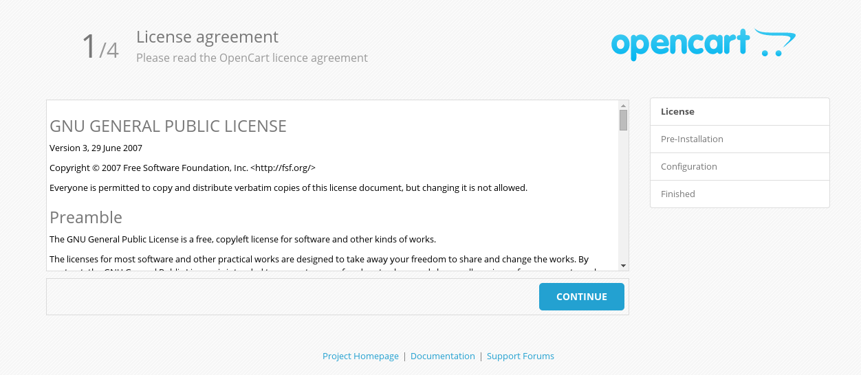 Accept OpenCart License