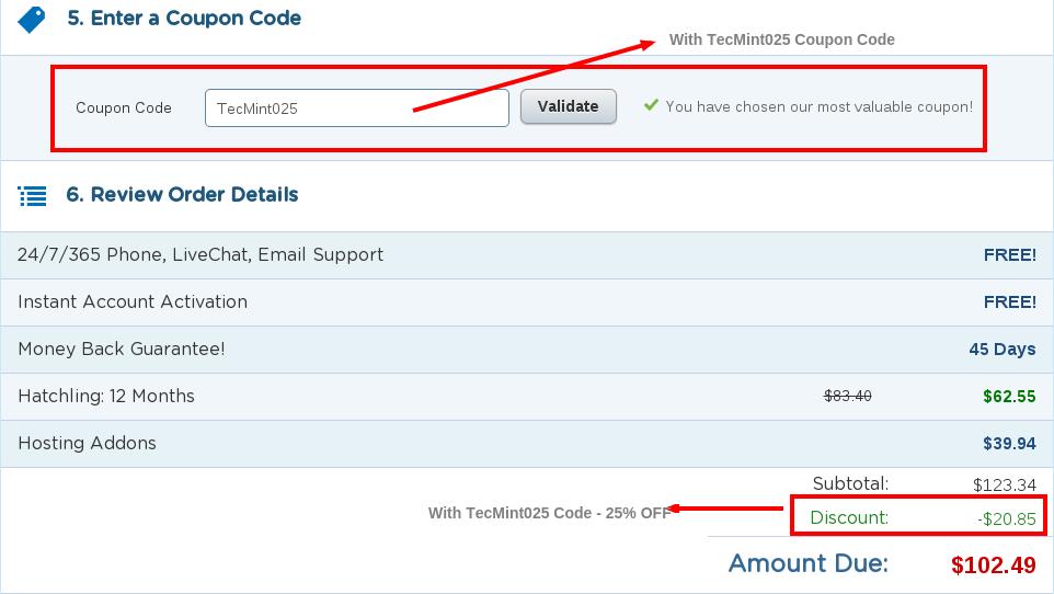 Hostgator 25% Discount - TecMint025