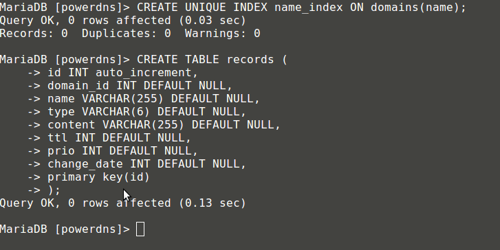 Create Table Records for PowerDNS